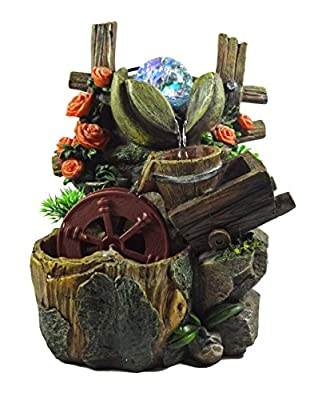 GiftsRDecor Tabletop Water Fountain Wooden Fence With Flowers and Watermill