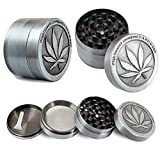 Metal Stainless Steel Coin Shape Pattern 1.5 Inch 4 Piece Herbal Spice Herb Tobacco Grinder Smoke Cigar Small Silver