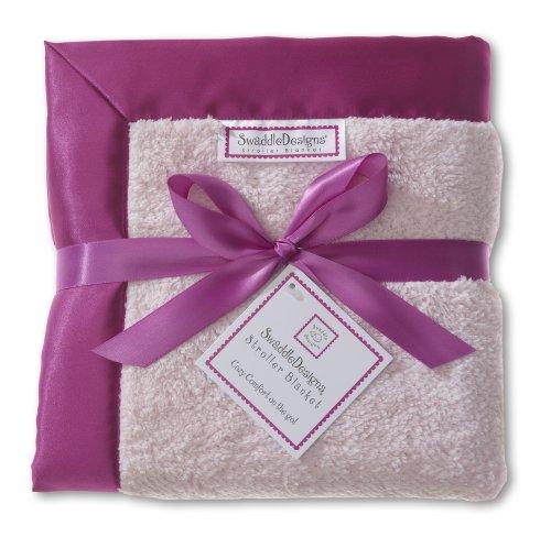 SwaddleDesigns Stroller Blanket, Cozy Microfleece, Very Berry with Satin (Microfleece Stroller Blanket)