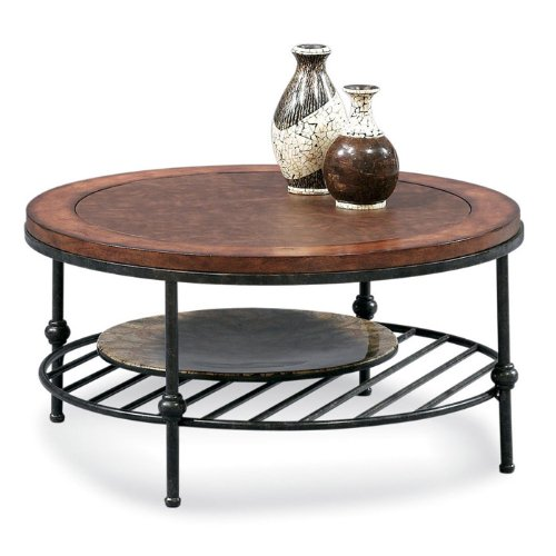 Round Cocktail Table with Faux Leather Top and Gun Metal (Leather Round Coffee Table)