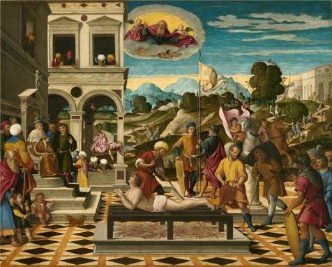 'Girolamo Da Santacroce,Martyrdom Of Saint Lawrence,1550-1555' Oil Painting, 20x25 Inch / 51x63 Cm ,printed On High Quality Polyster Canvas ,this High Resolution Art Decorative Prints On Canvas Is Perfectly Suitalbe For Bathroom Decor And Home Decor And Gifts