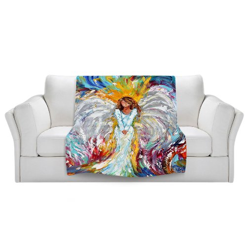 Angel Throw (Blankets Ultra Soft Fuzzy Fleece 4 SIZES! from DiaNoche Designs Home Decor Unique Designer Artistic Stylish Bedroom Ideas Couch or Throw Blankets by Karen Tarlton - Angel Watching Over)