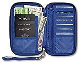 RFID Travel Passport & Document Organizer Zipper Case, Blue