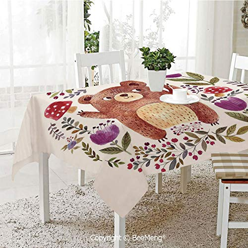 - Large dustproof Waterproof Tablecloth,Illustration of Happy Little Bear in Frame of Flowers Musrooms Wreath Art,Purple Green70 x 104 inches