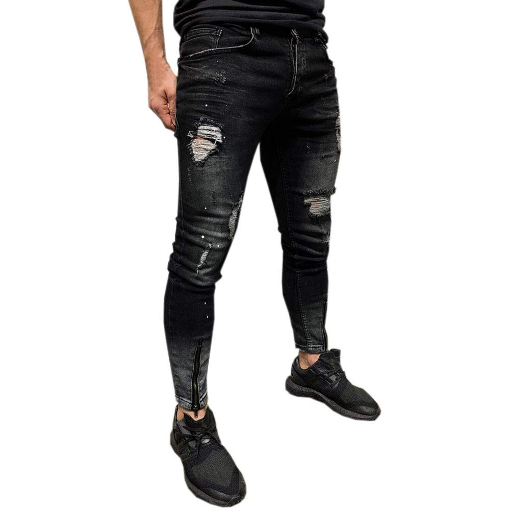Hunzed Men【Distressed Stretch Jeans】 Ripped Skinny Straight Fit Side Striped Zipper Jeans with Holes