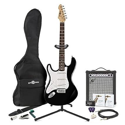 Guitarra Eléctrica LA Zurda + Pack de Ampli de 35W - Negro