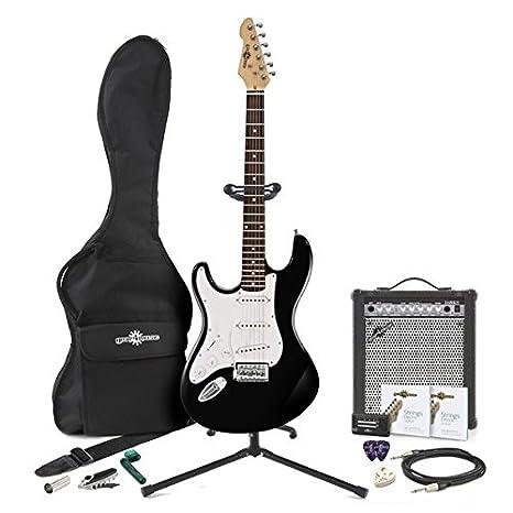 Guitarra Eléctrica LA Zurda + Pack de Ampli de 35W - Negro: Amazon.es: Instrumentos musicales