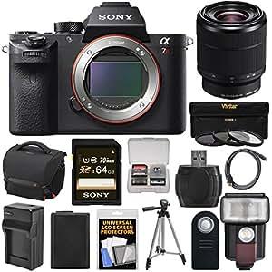 Sony Alpha A7R II 4K Wi-Fi Digital Camera Body with FE 28-70mm Lens + 64GB Card + Battery + Charger + Case + Flash + Tripod + Kit