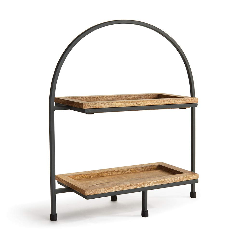 16'' Mango Wood and Iron Archway Style Two-Tiered Serving Tray