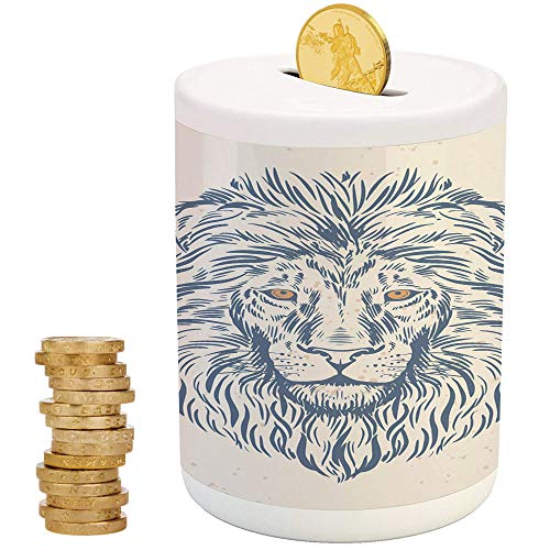 Modern,Ceramic Child Bank,Printed Ceramic Coin Bank Money Box for Cash Saving,Portrait of A Lion King of The Forest Wildlife Animal Zodiac Sign Illustration (Bank Slot Jumbo)