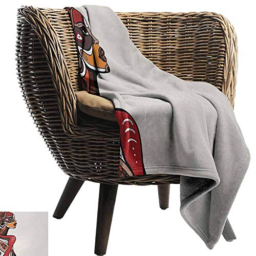 vanfan-home African Fleece Blanket Throw Size,Profile of African Beauty Totem Ethno Fashion Girl with Mask Tattoos Illustration Plush Throw Blanket for Outdoor(60