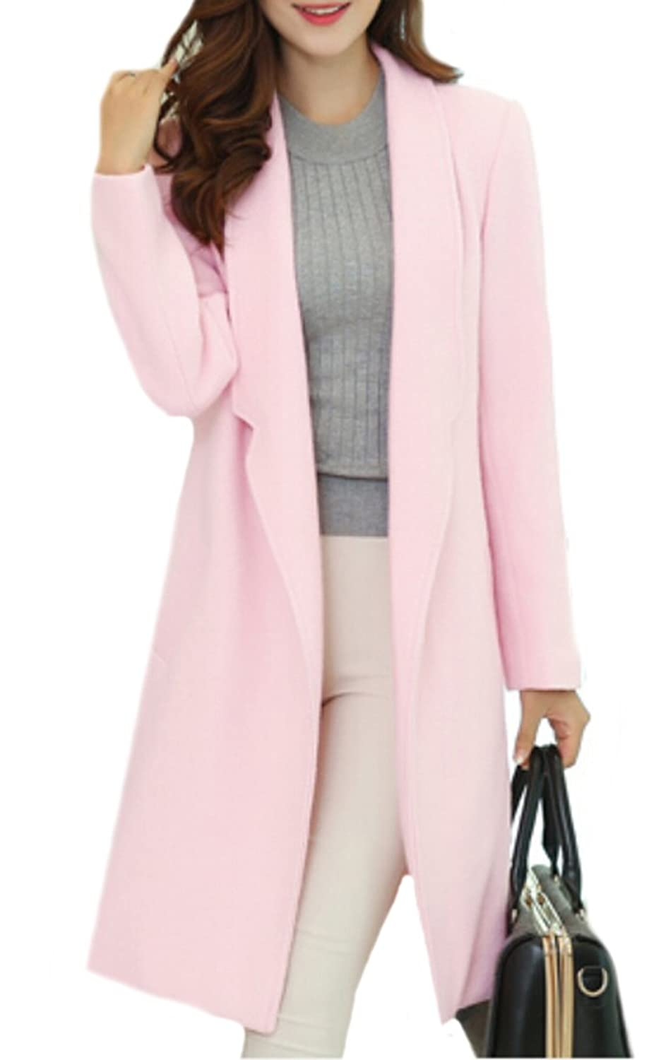 ASL Womens Winter Lapel Thickened Long Color Wool Coat