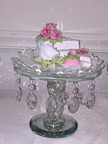 Elegant Acrylic Beaded Crystal Cake Stand, Shabby Chic, Unique Style Cake Stand round 8 INCH DIA x 7 height