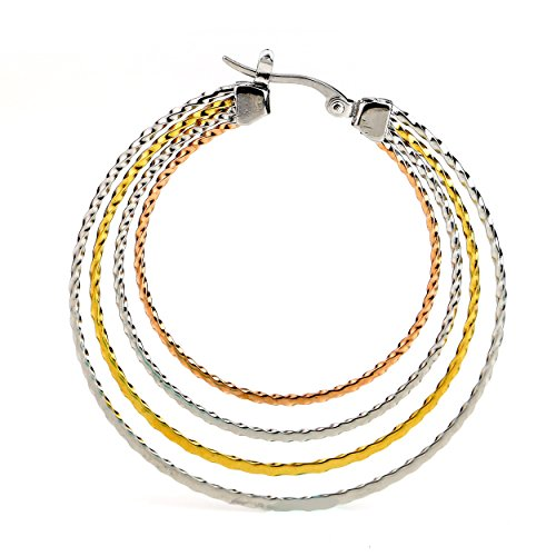 United Elegance - Contemporary Polished Large Twisted Tri-Color Silver, Gold & Rose Tone Hoop Earrings (Twisted Multi)