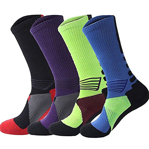 DRASEX Mens Sport Crew Socks 4-Pack Basketball Dri-Fit Athletic Cushion Compression Dress Socks for Outdoor Hiking Running
