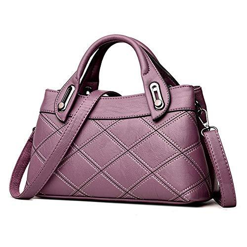 Suave Tamaño Bolsas Gran Capacidad Messenger Hobos Eeayyygch Cuero Púrpura amp; Hombro Mujer De Para Bolso color Mano Bandolera Gris vqOTwS