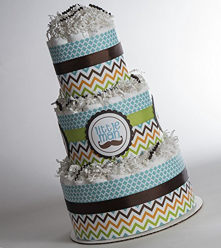 The ''Little Man'' Chevron, Mustache Baby Diaper Cake. Baby Shower Gift or Centerpiece. by Sassy and Sweet Boutique
