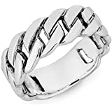 DTPSilver - 925 Sterling Silver Curb Band Ring