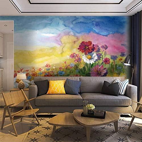 Papel pintado Mural de pared Summer Meadow pintura de acuarela Blooms Painting Ilustraciones de stock Autoadhesivo Removible Peel Stick Decoración de pared Artesanía en el hogar Calcomanía de pared Póster de pared Adhesivo para sala de estar