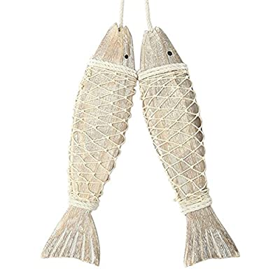 Handmade Wooden Fish Nautical Door & Home Decoration Ornament Wall Hanging 2 Pieces