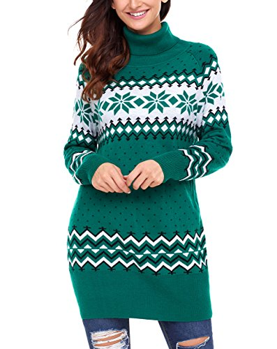 Snowflake Knit Top - Dearlovers Womens Long Sleeve Snowflake Knit Turtleneck Jumper Long Ugly Christmas Sweater Tops X-Large Size Green