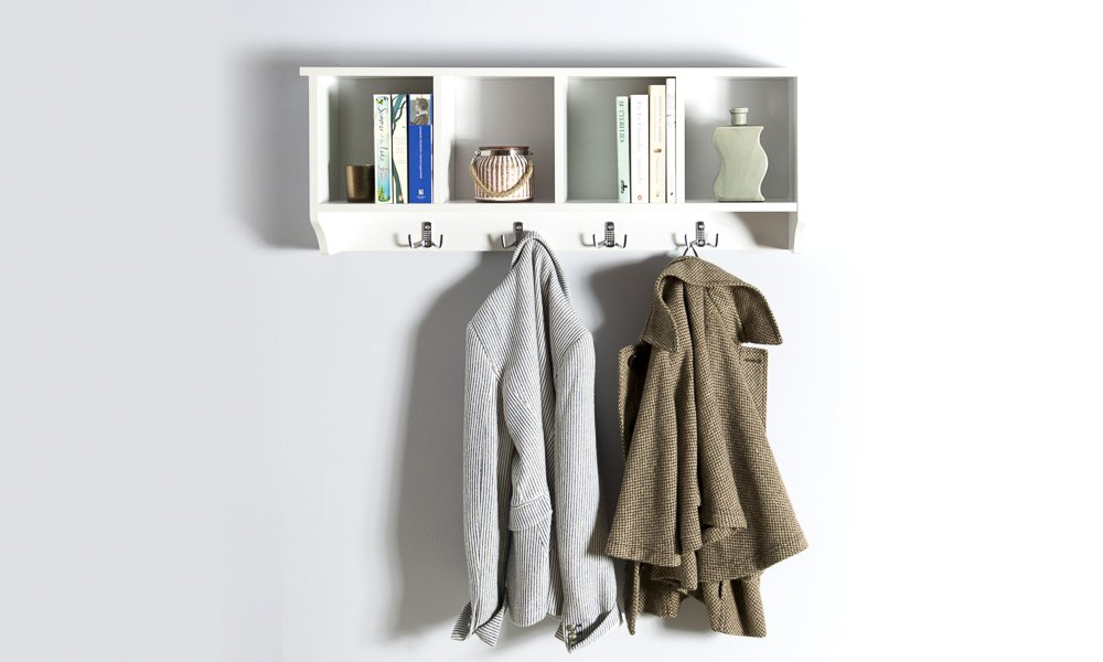 Home source kempton wall mounted cabinet coat hooks storage unit