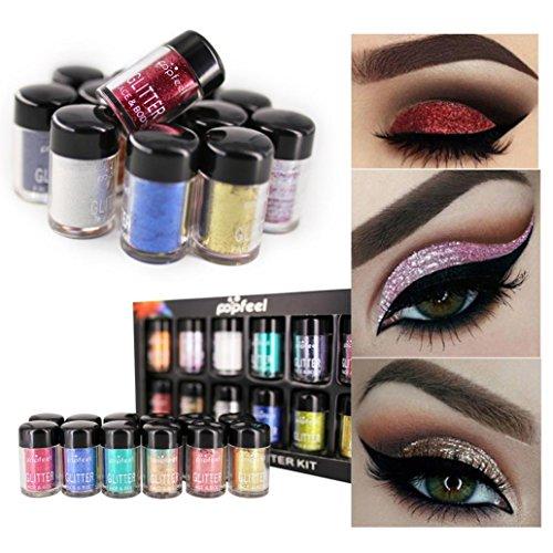 Binmer 12PC Eyeshadow, Shimmer Glitter Palette Matte Natural