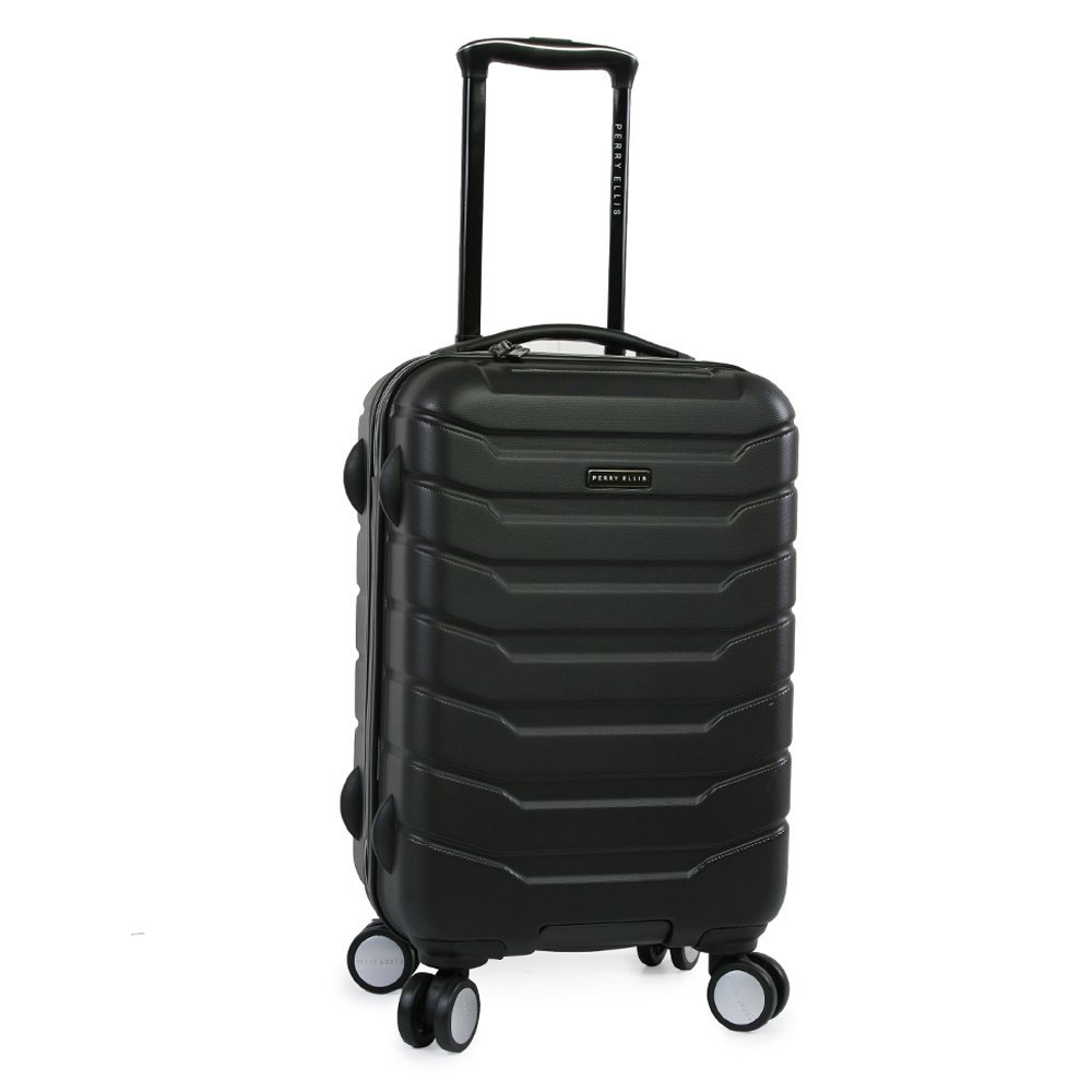 Perry Ellis Traction Hardside Spinner Carry On Luggage, Black