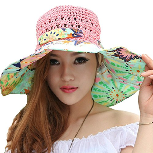 Elufly Flower Summer Large Wide Sun Beach Hat for Women Hand Woven Straw Hat (pink)