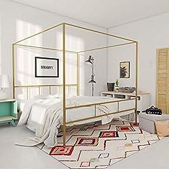 Bedroom Novogratz 4195249N Marion Canopy Bed, King, Gold modern beds and bed frames