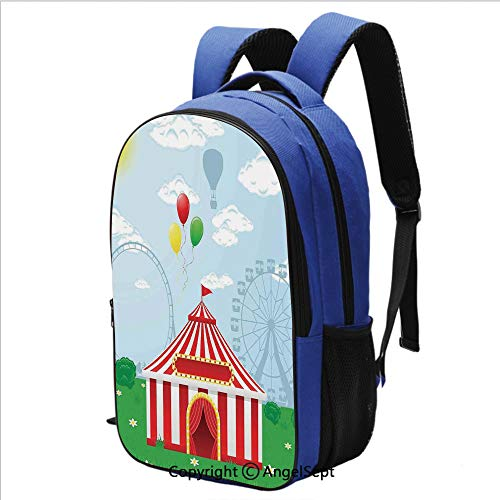 Backpack for Students Circus Tent on Nature Illustration Clouds Sunshine Grass Meadow Leisure