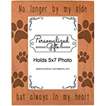 ThisWear Cat Memorial Gifts No Longer by My Side but Always in My Heart Rescue Cat Gifts Natural Wood Engraved 5x7 Portrait Picture Frame Wood
