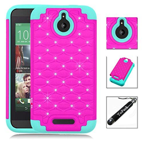 HTC Desire 510 Case, ToPerk Luxury Spot Diamond Dual Layer Armor Case + Free HD Screen Protector & ToPerk TM Stylus Pen As Bundle Sale - Hot Pink/Teal