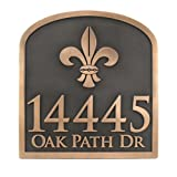 Fleur De Lis Address Plaque - 16x17 - Raised Bronze Metal Coated Sign