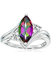 Sterling Silver Mystic Fire Topaz and Created White Sapphire Marquise Shape Ring, Size 7
