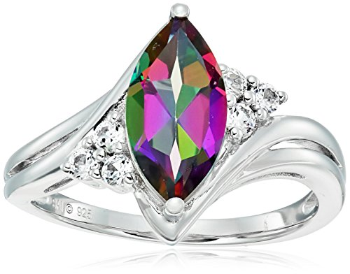 Sterling Silver Mystic Fire Topaz and Created White Sapphire Marquise Shape Ring, Size 7 (Ring Topaz Marquise)