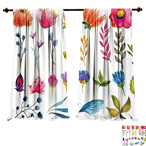 Block Garden China Rose (fengruiyanjing-Home Thermal Insulated Blackout Grommet Curtain Flower Watercolored Flowers Tulips Roses Colored Leaves Garden Design Print Multicolor Drapes Living Room (W120 x L107 -Inch 2 Panels))