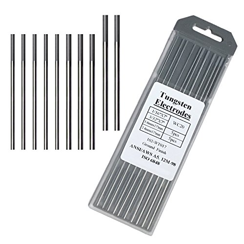 """Tungsten Electrodes for Tig Welding 2% Grey Ceriated Tungsten Assorted-- 5PCS 3/32"""" + 5PCS 1/16"""""""