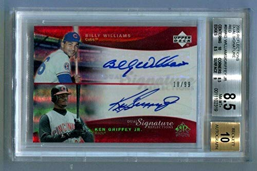 - 2005 UD Reflections B Williams K Griffey Jr Dual Signatures Red Auto /99 BGS 8.5 - Baseball Slabbed Autographed Cards