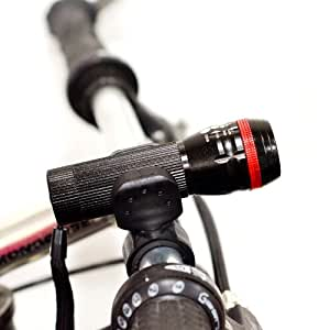 Super Bright LED Bike Light - Front Mount Bicycle Light - Installs on Any Bike - No Tools Required - Safety Strobe Function - Illuminates 600 Feet - Tough Aluminum Alloy Body - 360 Degree Swivel