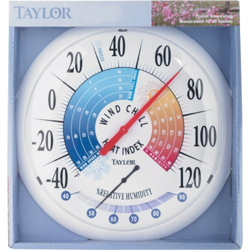 Taylor Thermometer Indoor/Outdoor 13.25 Black Bezel