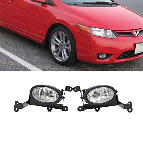 VioGi Fit 06-08 Honda Civic 2-Door Coupe Clear Lens Fog Lights Kit w/ Bulbs+Switch+Wiring Harness+Relay+Bracket+Necessary Mounting Hardware