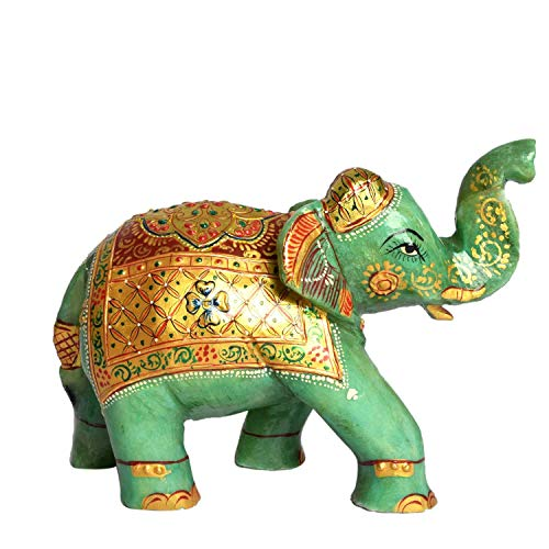 gemhub Elegant Elephant Green Jade Statue Approximately 7591.00 Ct Showpiece Sculpture Lucky Figurine House