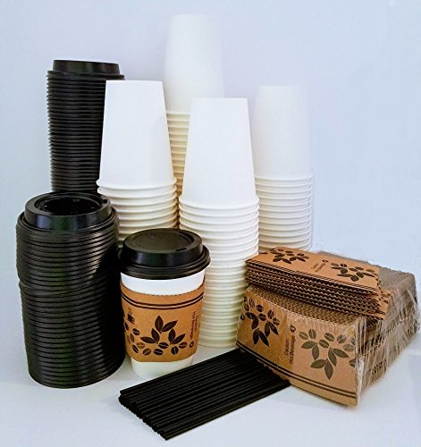 Disposable Paper Coffee Cups and Lids - 100 White - 12oz / 360ml Coffee Hot Cup, Travel Lid, Sleeves & Stir / Sip Straws - Office Party Pack - Perfect size for Your Hot / Cold Drinks