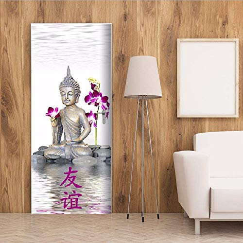 YFXGSTLI Bouddha avec Jolie Orchid/ée 3D Stickers De Porte Poster De D/écoration De Chambre /À Coucher PVC Imperm/éable Autocollants Porte 90X200Cm