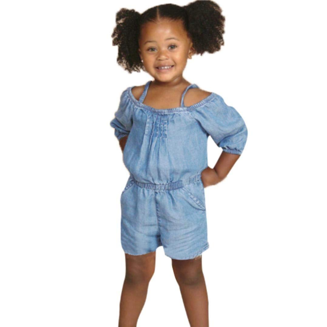 Suma-ma (18M-5T) Newborn Children Baby Girls Boys Short-Sleeved Sling Denim Casual Fashion Jumpsuit