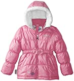 Little Girls'  Faux Fur Hooded Puffer Coat with Sequin Collar