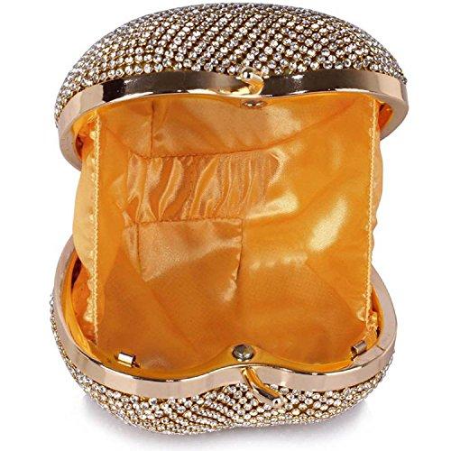 L And S Handbags Sparkly Crystal Diamante Heart Shaped Clutch Evening Bag - Cartera de mano para mujer dorado