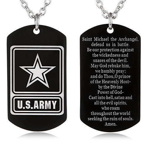 FAYERXL St Michael The Archangel Latin Prayer Dog Tag Necklace Military Pendant Christian Faith Jewelry (US Army St Michael)