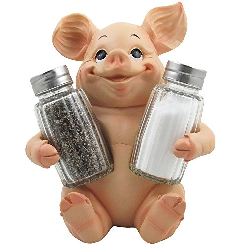Decorative Pig Glass Salt and Pepper Shaker Set with Holder Stand in Farm Animal Figurines, Sculptures & Statues or Rustic Country Kitchen Decor and Restaurant Table Spice Rack Decorations As Gifts for Farmers ()